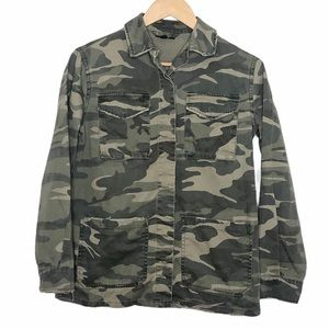 Topshop Distressed Camo Military Jacket Green 2